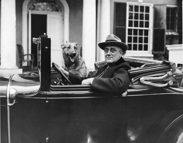 Portrait of American President Franklin Delano Roosevelt (1882 - 1945) sitting behind the wheel of his car outside his home in Hyde Park, New York in the mid 1930s.