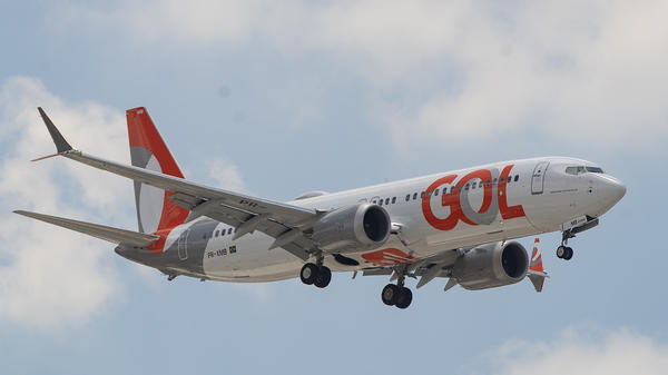 A Gol Airlines Boeing 737 Max 8 plane on approach to land at Guarulhos International Airport, Brazil, on Wednesday. Brazil's Gol Airlines became the first in the world to return the planes to its active fleet.