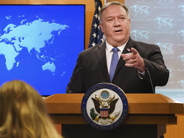 Secretary of State Mike Pompeo discusses the counting of votes in the U.S. election last month at the State Department.