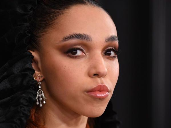 British musician FKA twigs, arriving at the Grammy Awards in Jan. 2020.