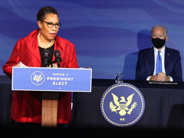 Rep. Marcia Fudge delivers remarks Friday in Wilmington, Del., after being introduced as President-elect Joe Biden's nominee to head the Department of Housing and Urban Development.