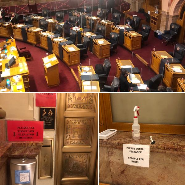 Colorado lawmakers returned to the Capitol during a surge of coronavirus cases to tackle a stimulus plan worth more than $200 million. Above are some of the scenes from the first day of the special session at the Capitol.