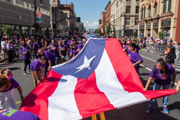 The Puerto Rican Day Parade, on Main Street on Springfield, Masachusetts.