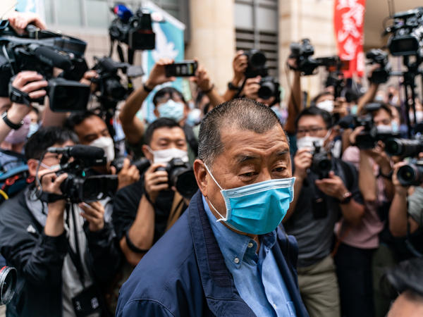 Hong Kong media tycoon Jimmy Lai arrives at a magistrate court this spring. Lai has been arrested multiple times this year, most recently earlier this month.