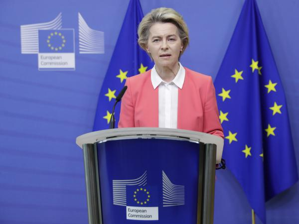 European Commission President Ursula von der Leyen delivers a statement at EU headquarters in Brussels on Sunday. Britain and the European Union say talks will continue on a free trade agreement — a deal that, if sealed, would avert New Year's chaos for cross-border traders and bring a measure of certainty for businesses after years of Brexit turmoil.
