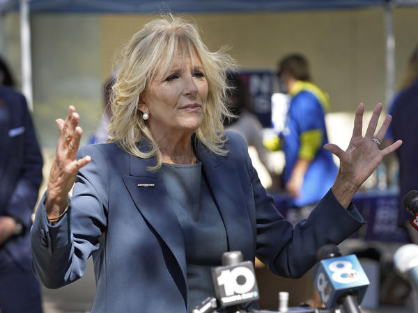 """Jill Biden, on the campaign trail last month in St. Petersburg, Fla., holds two master's degrees and a doctorate in education. An op-ed published in <em>The Wall Street Journal</em> asking her to stop using the title """"Dr."""" has prompted widespread backlash."""