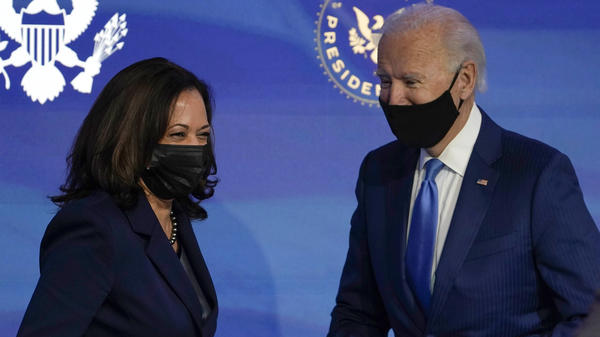 Vice President-elect Kamala Harris and President-elect Joe Biden last week in Wilmington, Del. They were formally elected Monday by the Electoral College.
