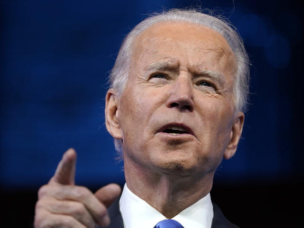 President-elect Joe Biden speaks about the Electoral College vote certification process Monday in Wilmington, Del.