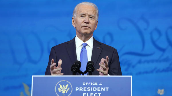 President-elect Joe Biden, here on Monday, says he plans to get vaccinated publicly for the coronavirus.