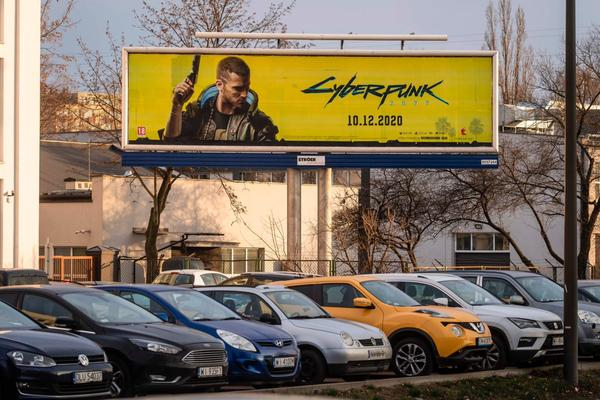 An advertisement of Cyberpunk 2077 game is seen in Warsaw, Poland.