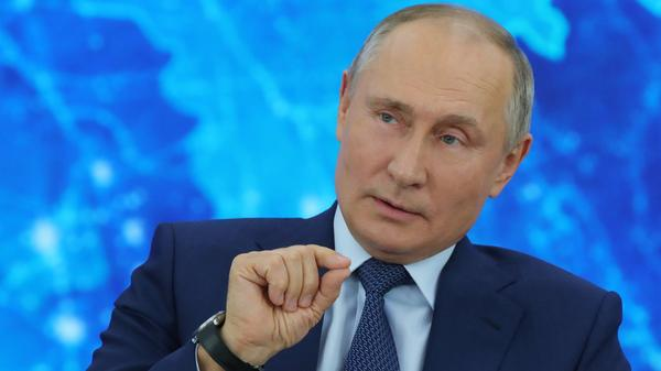 Russian President Vladimir Putin's annual year-end news conference went remote this year, as he addressed reporters from the Novo-Ogaryovo state residence outside Moscow via a video link Thursday.