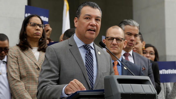 California Secretary of State Alex Padilla appears at a 2019 news conference at the state Capitol in Sacramento.