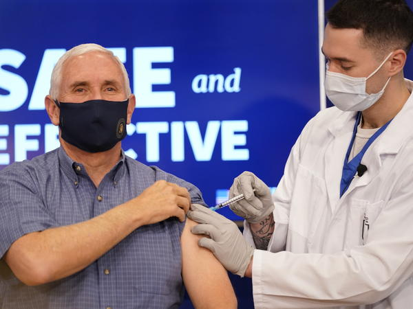 Vice President Pence receives the COVID-19 vaccine at the White House complex on Friday.