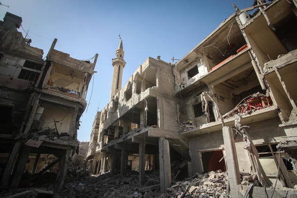 A view of a mosque destroyed by regime forces in Douma, Syria, on March 21, 2018. Douma, on the outskirts of Damascus, was targeted by an air strike carried out by Syrian government forces.