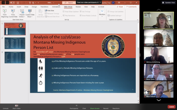 A screenshot of Tina Chamberlain updating the MMIP Task Force on MT Missing Persons Data.