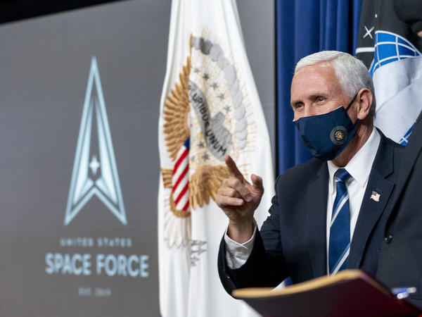 "Vice President Mike Pence arrives for a ceremony to commemorate the first birthday of the U.S. Space Force on Friday. Members of the branch will be called ""guardians."""