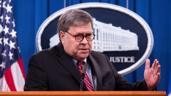 Attorney General William Barr holds a news conference on Monday.