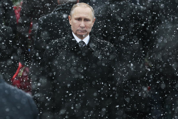 """Russian President Vladimir Putin, here at the Tomb of the Unknown Soldier in Moscow in 2017, has seen U.S. relations reach their lowest point since the Cold War. By waiting over a month to congratulate President-elect Joe Biden, Putin tried to show strength and that """"he's ready to take the fight all the way to Washington,"""" Russian political commentator Konstantin Eggert says."""