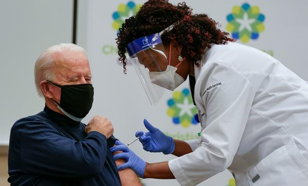 President-elect Joe Biden receives a COVID-19 vaccination Monday at the ChristianaCare Hospital in Newark, Del.