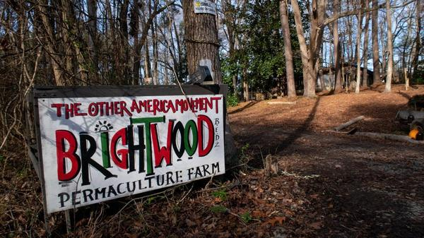 A sign marking the entrance to Brightwood, a Black economic development zone in rural Durham County.