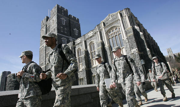 Army cadets make their way through campus at the U.S. Military Academy in West Point, N.Y., in 2007. This week, over 70 cadets were accused of cheating on an exam — the worst academic scandal since 1976, instructors say.