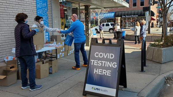 Federal money helped pay for free COVID-19 testing in downtown Lawrence, Kansas