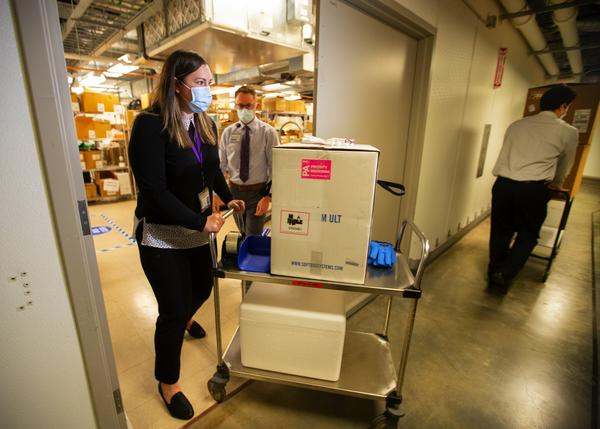 The first shipment of COVID vaccines arriving at the UW Medical Center in Seattle on December 14, 2020.