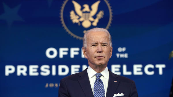 President-elect Joe Biden delivers remarks on the pandemic Tuesday in Wilmington, Del.
