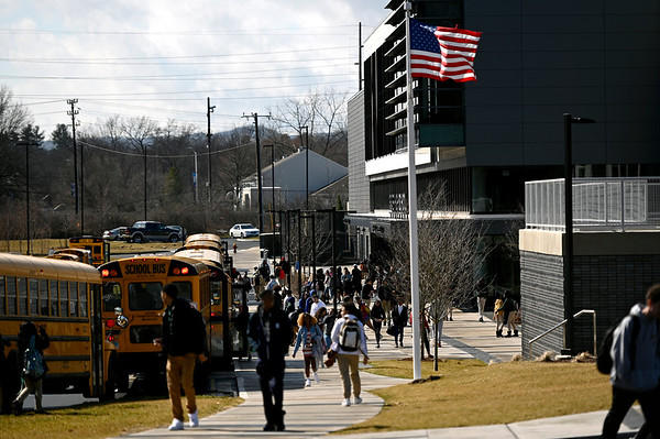 Connecticut students from Hartford's Weaver High School are dismissed at the end of the school day on March 13, 2020. Like many school districts in New England, Hartford schools closed indefinitely to mitigate the spread of coronavirus.