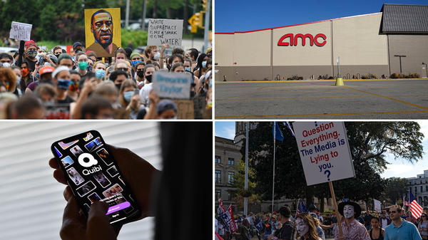 """(Clockwise from upper left) A """"Black Lives Matter"""" protest in Brooklyn, N.Y., a shuttered AMC movie theater, a """"Stop the Steal"""" protest in Atlanta, Ga., and the short-form streamer Quibi."""