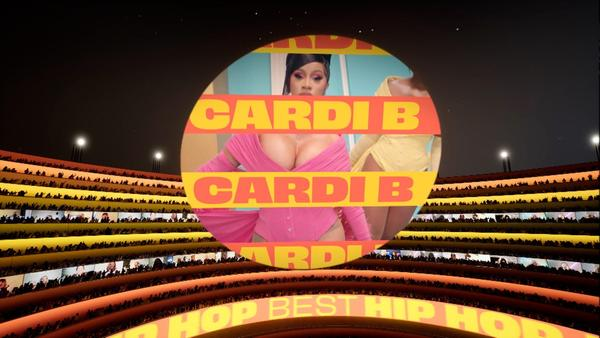 A screengrab of Cardi B from the Best Hip Hop Award at the MTV EMA's 2020.