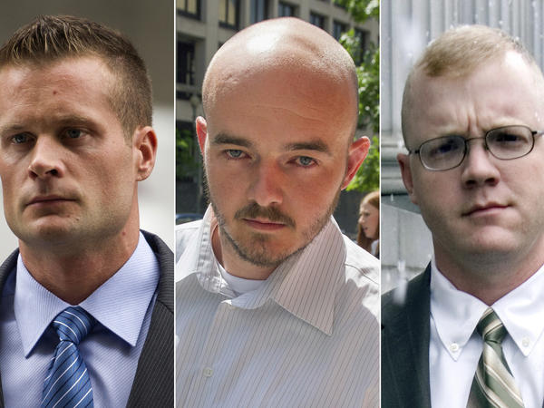 On Tuesday, President Trump pardoned 15 people, including Dustin Heard (from left), Evan Liberty, Nicholas Slatten and Paul Slough, the four former government contractors convicted for a 2007 massacre in Baghdad that left more than a dozen Iraqi civilians dead.