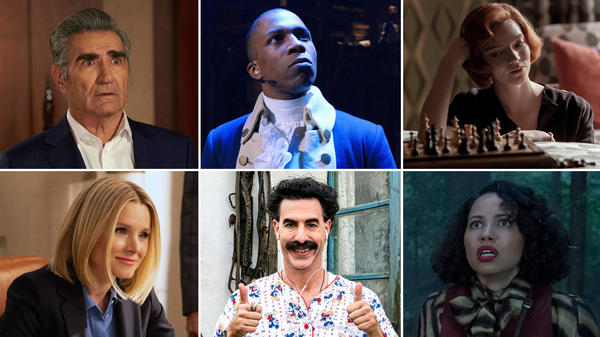 (Clockwise from upper left) Eugene Levy in <em>Schitt's Creek,</em> Leslie Odom Jr. in <em>Hamilton,</em> Anya Taylor-Joy in <em>The Queen's Gambit,</em> Jurnee Smollett in <em>Lovecraft Country,</em> Sacha Baron Cohen in <em>Borat Subsequent Moviefilm, </em>and Kristen Bell in <em>The Good Place.</em>