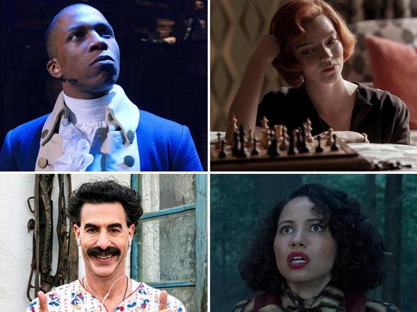 (Clockwise from upper left) Eugene Levy in <em>Schitt's Creek,</em> Leslie Odom Jr. in <em>Hamilton,</em> Anya Taylor-Joy in <em>The Queen's Gambit,</em> Jurnee Smollett in <em>Lovecraft Country,</em> Sacha Baron Cohen in <em>Borat Subsequent Moviefilm, </em>and Kristen Bell in <em>The Good Place.</em>