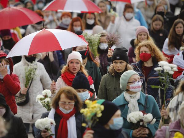 Belarusian women protest in Minsk, Belarus, in October,  demanding the resignation of the country's authoritarian President Alexander Lukashenko.