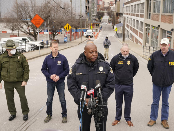 Nashville, Tenn., Police Chief John Drake speaks during a news conference on Christmas Day. Law enforcement is looking into who and how many may have been involved in a bombing in Nashville's downtown corridor.