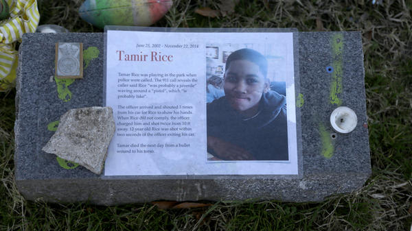 The Justice Department announced Tuesday it would not bring federal criminal charges against two Cleveland police officers in the 2014 killing of 12-year-old Tamir Rice (pictured in a memorial).