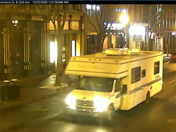 A screen grab of surveillance footage shows the recreational vehicle used in the Christmas Day bombing in Nashville, Tenn.