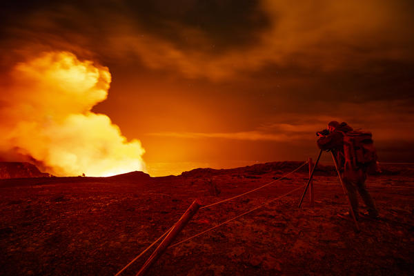 Gas and steam erupt from the Halemaumau crater of the Kilauea volcano on Dec. 21 in Hawaii Volcanoes National Park.