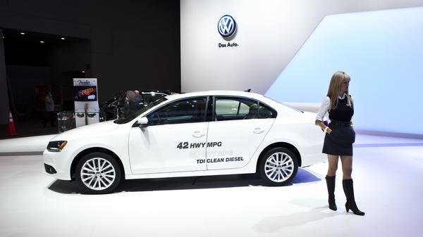 """Volkswagen Jetta models — like this TDI from 2011 labeled """"clean diesel"""" — were found to have software that cheated official emissions tests, the EPA says. More than 480,000 cars are affected."""