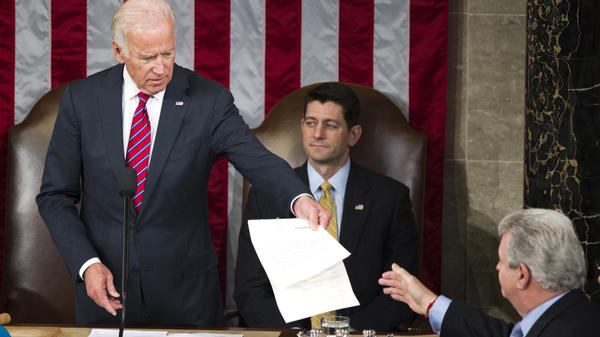 Then-Vice President Joe Biden presides over a joint session of Congress in January 2017 to formally name Donald Trump as president-elect.