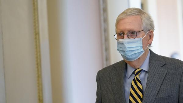 Senate Majority Leader Mitch McConnell, R-Ky., at the Capitol on Wednesday. The Senate voted Friday to override President Trump's veto on the annual defense bill.