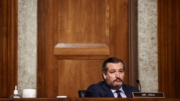 Sen. Ted Cruz, R-Texas, is seen during a Senate Judiciary Committee hearing in November. Cruz and several other Republicans are calling for a commission to investigate unfounded claims of election fraud.