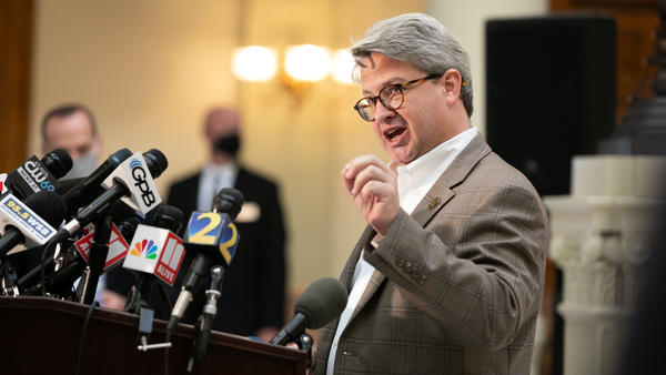 Gabriel Sterling, voting system implementation manager for the Georgia secretary of state's office, answers questions during a press conference in November.