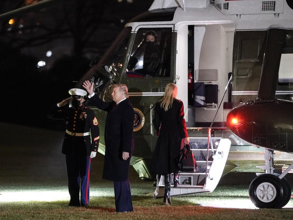 President Trump prepares to board Marine One on the South Lawn of the White House on Monday.