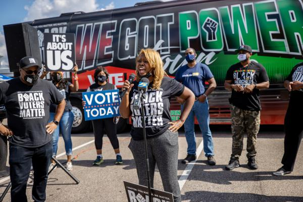LaTosha Brown, shown here in Memphis, Tenn., co-founded the Black Voters Matter organization in 2016.