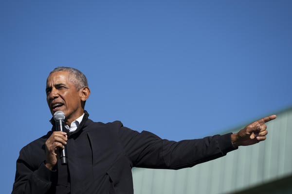 """""""For two months now, a political party and its accompanying media ecosystem has too often been unwilling to tell their followers the truth,"""" former President Barack Obama said on Wednesday. Obama is seen here in October 2020."""