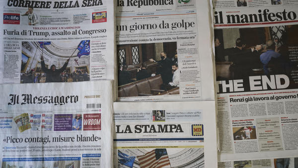 """Italian papers show the chaotic scenes from Washington, with one headline declaring """"The End."""" Others proclaim, """"Gunshots on Democracy"""" and """"USA – Day of the Coup."""" World leaders are reacting with shock and dismay to the assault on the Capitol."""