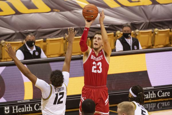 Bradley's Ville Tahvanainen (23) shoots over Missouri's Dru Smith (12) during their game last month in Columbia, Mo.