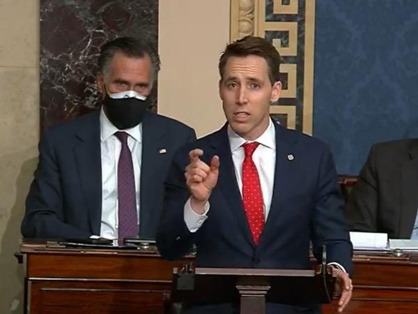 In this screenshot taken from a congress.gov webcast, Missouri Republican Sen. Josh Hawley speaks during a Senate debate session to ratify the 2020 presidential election on Wednesday in Washington, D.C.